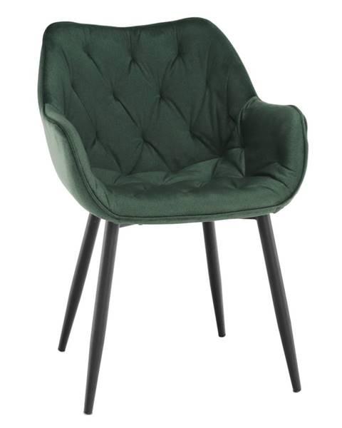 Kondela Dizajnové kreslo zelená Velvet látka FEDRIS rozbalený tovar