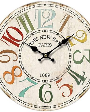 Drevené nástenné hodiny Paris 1889, pr. 34 cm