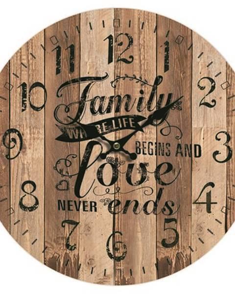 Banquet Drevené nástenné hodiny Family love, pr. 34 cm