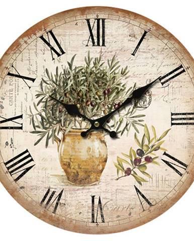 Drevené nástenné hodiny Vintage olives, pr. 34 cm