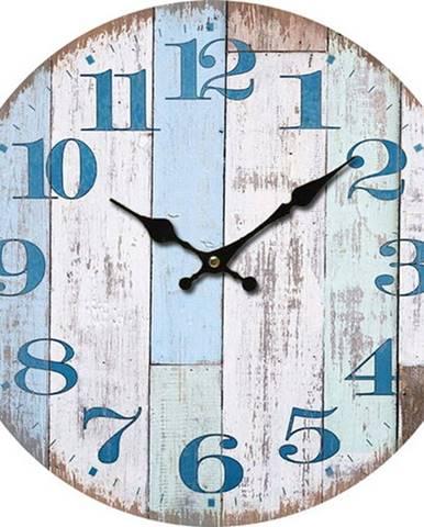 Drevené nástenné hodiny Chiffres bleus, pr. 34 cm