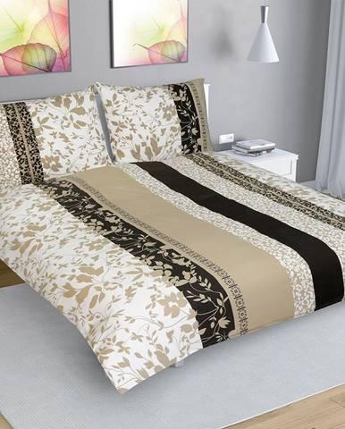 Bellatex Bavlnené obliečky Lístky béžová, 200 x 200 cm, 2 ks 70 x 90 cm