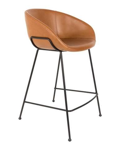 Sada 2 hnedých barových stoličiek Zuiver Feston, výška sedu 65 cm