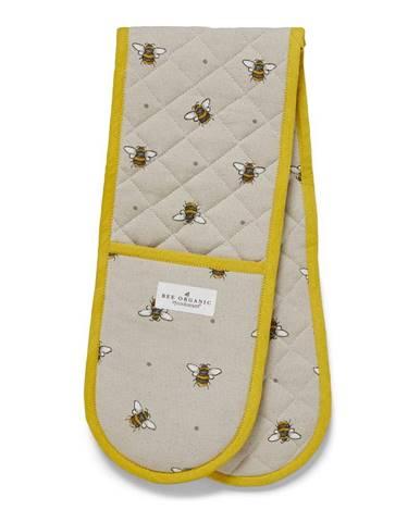 Béžovo-žltá bavlnená dvojitá chňapka Cooksmart ® Bumble Bees