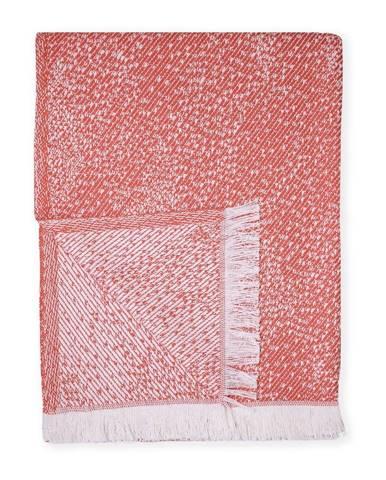 Červený pléd s podielom bavlny Euromant Dotty Diamond, 140 x 180 cm