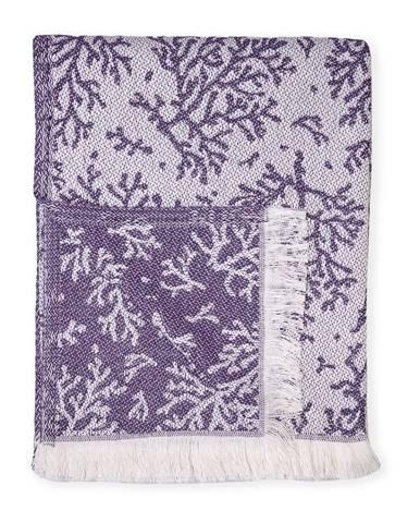 Fialový pléd s podielom bavlny Euromant Summer Coral, 140 x 180 cm