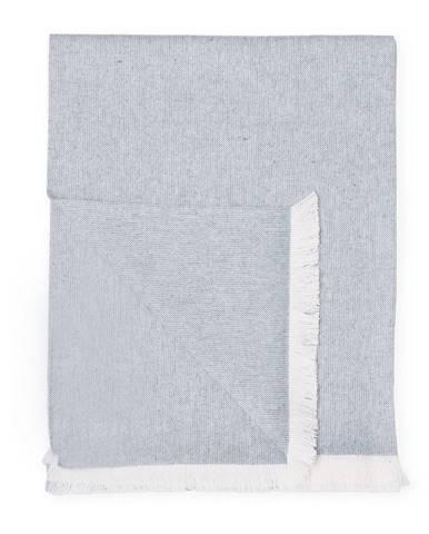 Modrý pléd s podielom bavlny Euromant Summer Linen, 140 x 180 cm