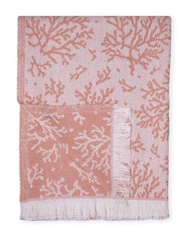Oranžový pléd s podielom bavlny Euromant Summer Coral, 140 x 180 cm