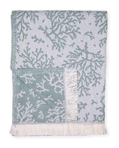 Zelený pléd s podielom bavlny Euromant Summer Coral, 140 x 180 cm