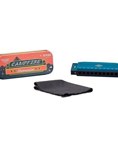 Modrá fúkacia harmonika v plechovej škatuľke Gentlemen´s Hardware
