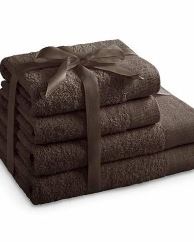 AmeliaHome Sada uterákov a osušiek Amari hnedá, 2 ks 50 x 100 cm, 2 ks 70 x 140 cm