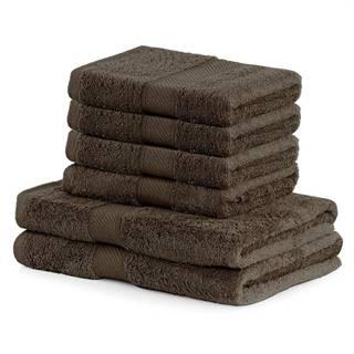 DecoKing Sada uterákov a osušiek Bamby hnedá, 4 ks 50 x 100 cm, 2 ks 70 x 140 cm