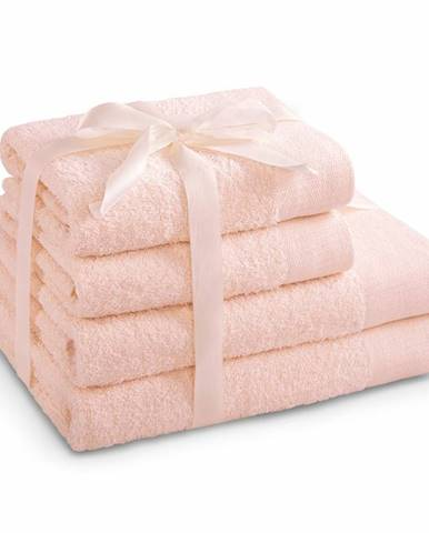 AmeliaHome Sada uterákov a osušiek Amari svetloružová, 2 ks 50 x 100 cm, 2 ks 70 x 140 cm