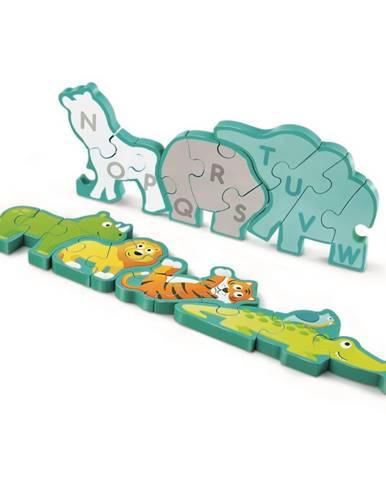 Hape Obojstranné puzzle Zvieratká a abeceda 26 dielikov, 77 x 1,2 x 16,5 cm