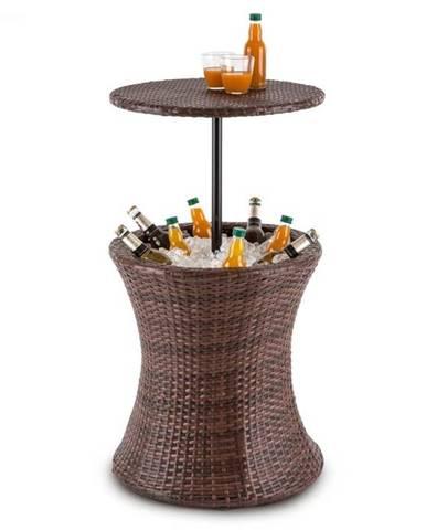 Blumfeldt Beerboy, záhradný stôl, chladič nápojov, Ø 50 cm, polyratan, dvojfarebný hnedý