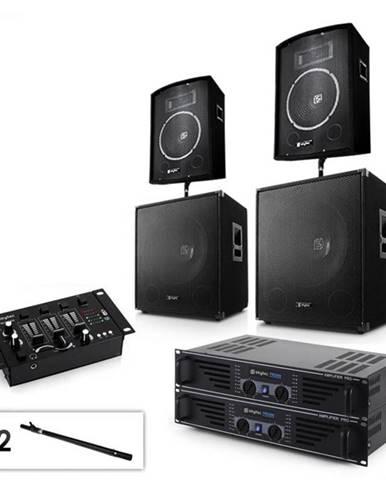 """Electronic-Star Sada 2.2 PA systému s 2 x zosilňovačom, 2 x 15"""" subwooferom, 2 x 10"""" reproduktorom, mixérom & káblami"""