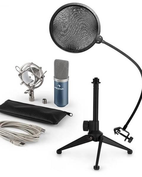 Auna Auna MIC-900BL V2, USB mikrofónová sada, kondenzátorový mikrofón + pop-filter + stolný statív