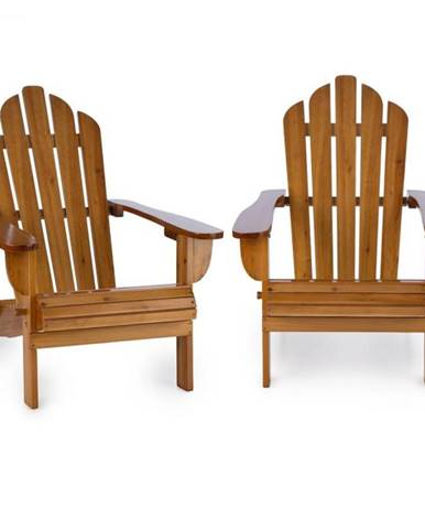 Blumfeldt Vermont, set záhradných stoličiek, 2 ks, adirondack, 73 x 88 x 94 cm, sklopiteľné, hnedé