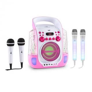 Auna Kara Liquida ružová farba + Dazzl mikrofónová sada, karaoke zariadenie, mikrofón, LED osvetlenie