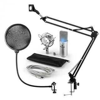 Auna MIC-900S-LED, USB mikrofónová sada V4, strieborná, kondenzátorový mikrofón, pop filter, mikrofónové rameno, LED