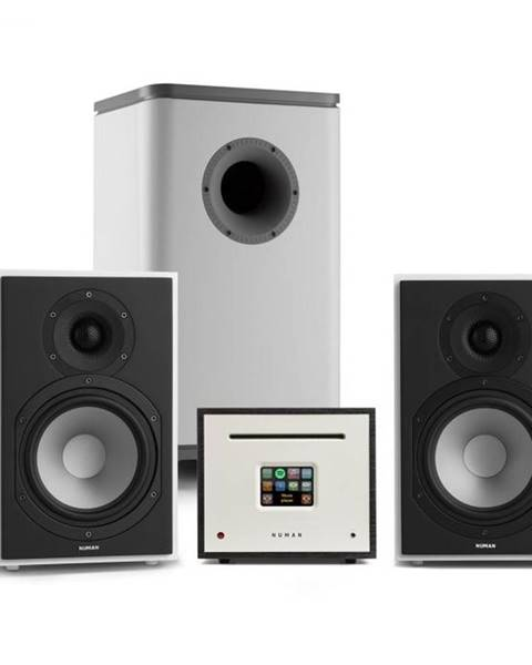 Numan Numan Unison Reference 802 Edition, stereo systém, zosilňovač, reproduktory, biela/sivá/čierna