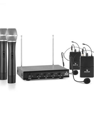 Auna Pro VHF-4-H-HS, 4-kanálová VHF mikrofónová sada 2 x headset 2 x ručný mikrofón 50m
