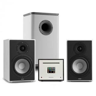 Numan Unison Reference 802 Edition, stereo systém, zosilňovač, reproduktory, biela/sivá/čierna