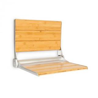 OneConcept Arielle Deluxe, sedadlo do sprchy, bambus, hliník, sklápacie, 160 kg max., drevo
