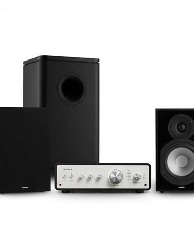 Numan Drive 802, stereo sada, zosilňovač, regálový reproduktor, subwoofer, kryt, čierna