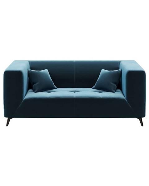 MESONICA Modrá zamatová pohovka MESONICA Toro, 187 cm