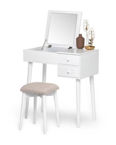 Biely toaletný stolík so zrkadlom, šperkovnicou a 2 zásuvkami Chez Ro Beauty