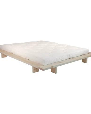 Dvojlôžková posteľ z borovicového dreva s matracom Karup Design Japan Double Latex Raw/Natural, 140 × 200 cm
