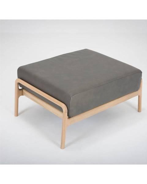 Gazzda Tmavosivá podnožka z byvolej kože s konštrukciou z masívneho dubového dreva Gazzda Fawn