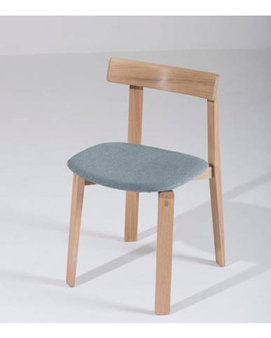 Jedálenská stolička z masívneho dubového dreva s modrosivým sedadlom Gazzda Nora