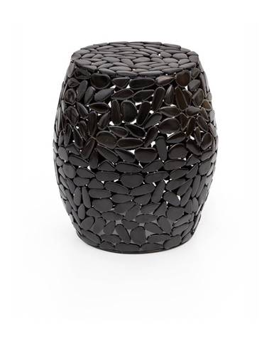Čierny odkladací stolík WOOX LIVING Floral, ⌀ 40 cm