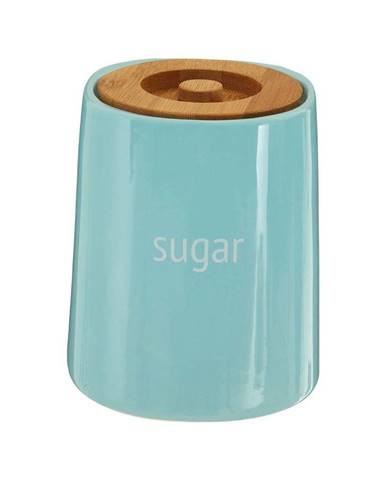 Modrá dóza na cukor s bambusovým vrchnákom Premier Housewares Fletcher, 800 ml