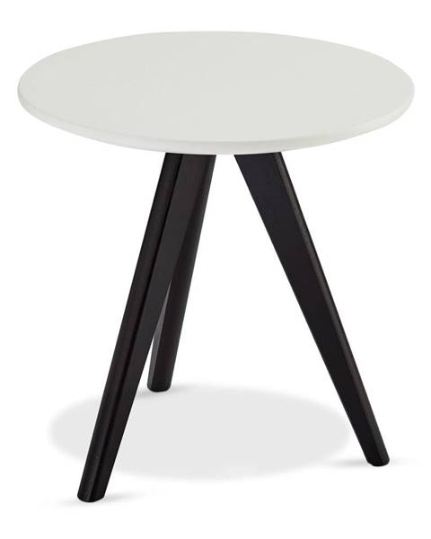 Furnhouse Čierno-biely konferenčný stolík s nohami z dubového dreva FurnhoLife, Ø 40 cm