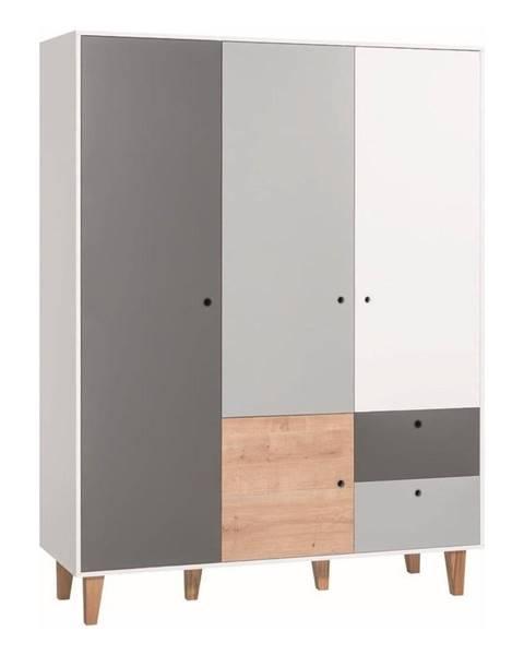 Vox Bielo-sivá trojdverová šatníková skriňa s dreveným detailom Vox Concept