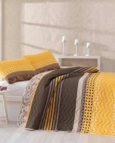 Set plédu cez posteľ a obliečky na vankúš s prímesou bavlny Miranda Yellow, 160 x 220 cm