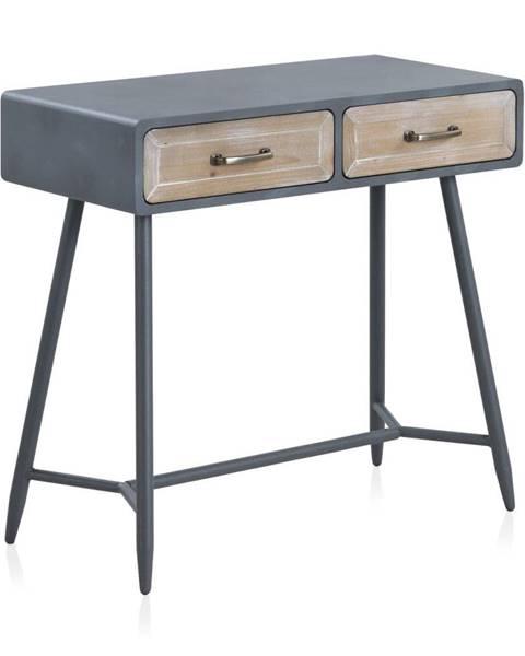 Geese Konzolový stôl so sivými detailmi a dvoma zásuvkami Geese Rustico Duro