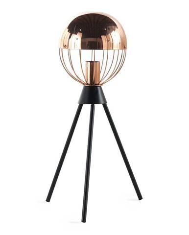 Čierna stolová lampa s detailmi v medenej farbe Geese Accent