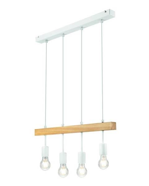 LAMKUR Biele závesné svietidlo pre 4 žiarovky Lamkur Orazio