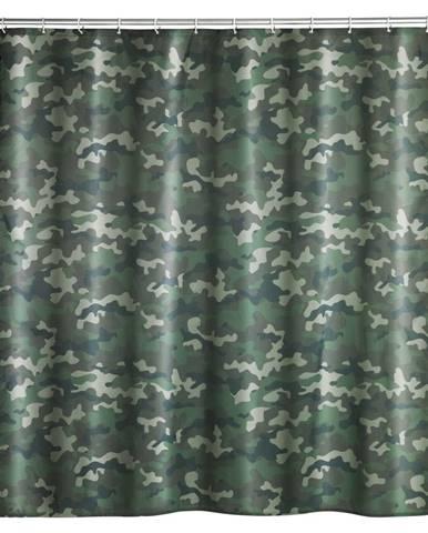 Prateľný sprchový záves Wenko Camouflage, 180 x 200 cm