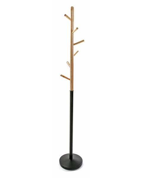 Versa Čierny vešiak s drevenými prvkami VERSA Clothes, výška 180cm