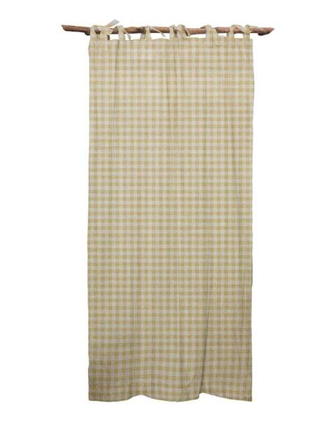 Linen Couture Béžový záves Linen Couture Cuture Cortina Hogar Beige Vichy