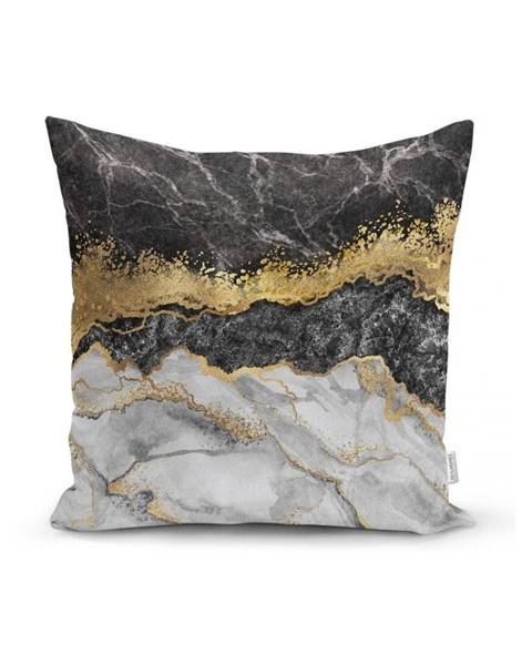 Minimalist Cushion Covers Obliečka na vankúš Minimalist Cushion Covers BW Marble With Golden Lines, 45x45cm
