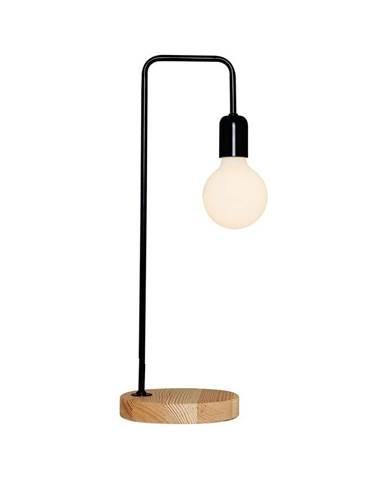 Čierna stolová lampa s dreveným podstavcom Homemania Valetta