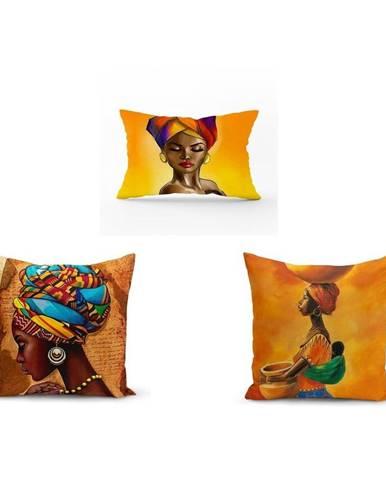 Súprava 3 obliečok na vankúše Minimalist Cushion Covers African Culture, 45 x 45 cm
