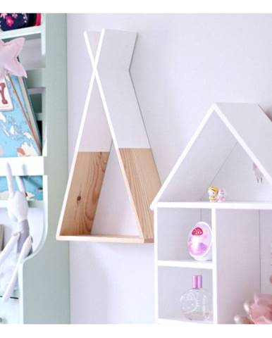 Biela drevená nástenná polička North Carolina Scandinavian Home Decors Teepee L, výška 45 cm