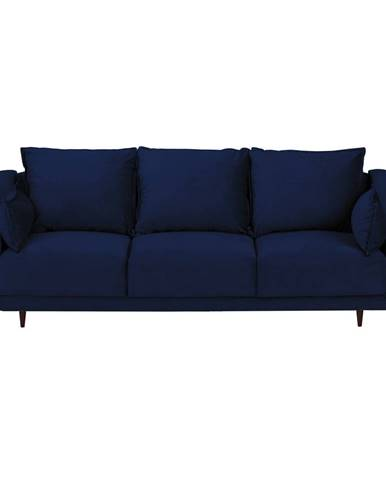Modrá zamatová rozkladacia pohovka s úložným priestorom Mazzini Sofas Freesia, 215 cm